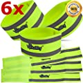 Reflective Band (6 Bands/3 Pairs) | High Visibility Safety Gear for Running, Bike, Dog Walking, Jogging | Wearable as Ankle Bands, Armband, Wristbands | Made of Silver Strap, Elastic with Velcro