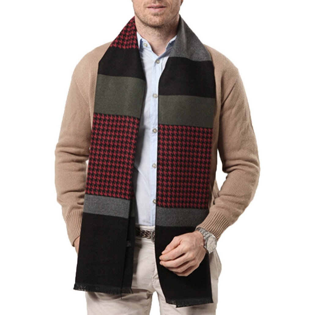Business Warp for Men Cashmere-Like Casual Plaid Scarve Men Long Scarve Khika