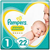 Pampers Premium Protection, Size 1 Newborn (2kg-5kg), 22 Nappies, For Unbeatable Skin Protection