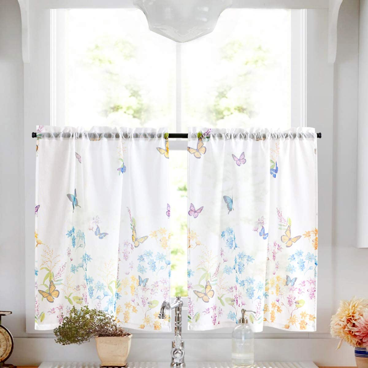 White Sheer Tiers with Butterfly Garden Pattern Curtains for Bathroom Rod Pocket Small Window Curtain for Kitchen 24 inch 2 Panels