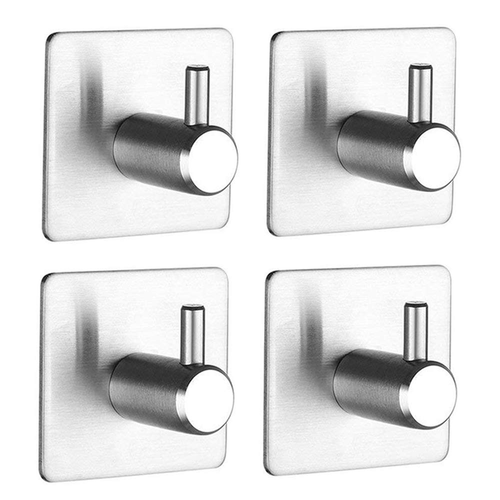 Jekoo 3M Adhesive Hooks, Towel Hooks with Stainless Steel Brushed Nickel for Bath Kitchen Garage Heavy Duty Wall Mount Coat Hanging Rack - (4 Pack)