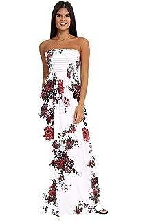 ef08a3340d Loxdonz Women's Floral Maxi Dresses Plus Size Tube Top Long Shirring  Sundress Cover Up
