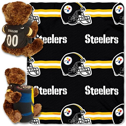 Pittsburgh Steelers NFL Bear Mascot Pillow Fleece Throw Blanket Combo at Steeler Mania