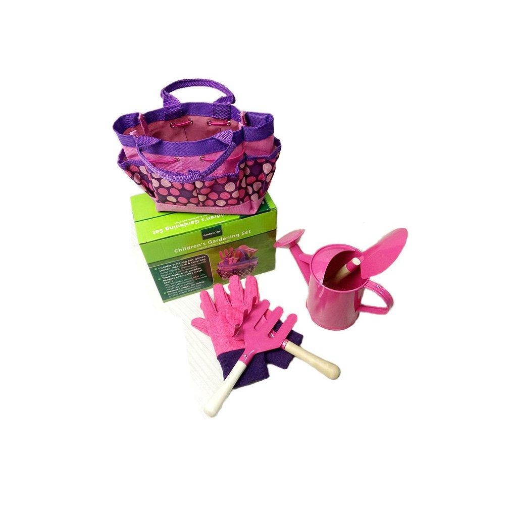 YunNasi Kids Gardening Tools Set Outdoor Beach Toys with Watering Can Children Gardening Gloves Shovel Rake Fork and Garden Tote Bag Birthday Gifts (Pink)