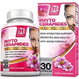 BRI Nutrition Phytoceramides - Natural Anti-Aging Skin & Hair Vitamins for Collagen Boost & Rejuvenation w Vitamins A + C + D + E - 350mg per serving (1 Vegetable Capsule)