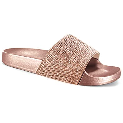 quality design 49aca 39b33 SUGAR ISLAND® Celebrity Style Damen Damen Glitzer Diamante Flip Flops  Schieberegler Hausschuhe Hausschuhe Pantoletten