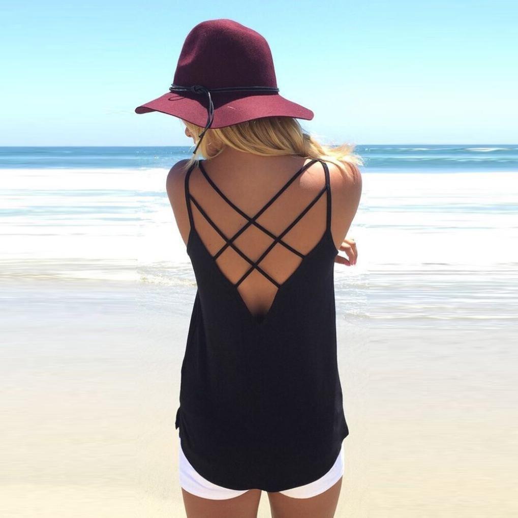 Chaleco Tirantes Color S/óLido Casuales Mujer LHWY Chaleco Espalda Descubierta Cuello Redondo Crop Tops Huecos Verano