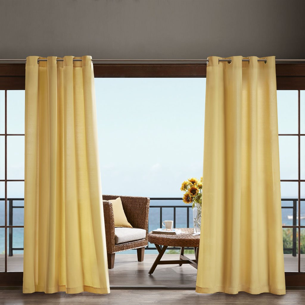 Madison Park Pacifica Solid 3M Scotchgard Outdoor Panel Yellow 108'' Panel