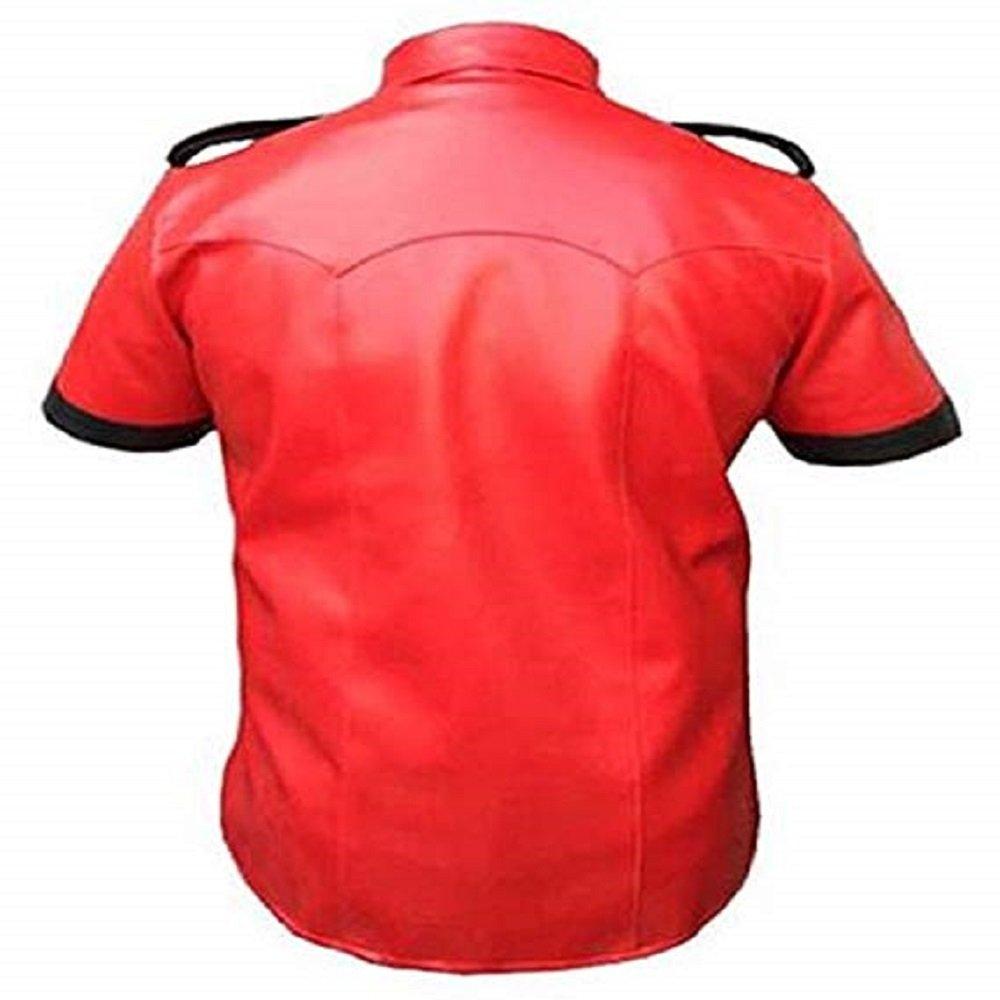 Black Korel Mens Genuine Sheep Cow Leather Police Real Uniform Shirt BLUF Gay Mens Hot Premium Leather