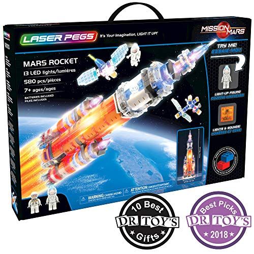 Laser Pegs Mars Rocket Light Up Building Kit (580 pieces)