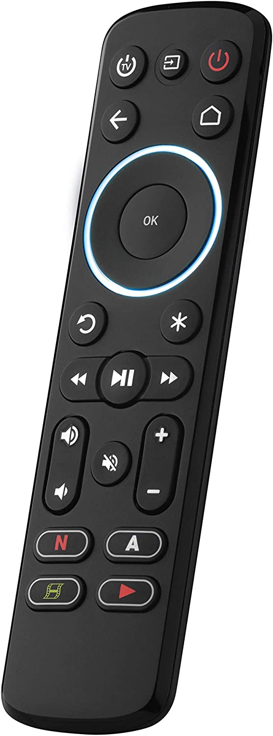 One For All Streamer Remote – Universal Remote Control for up to 3 Devices Infrared Controlled Streamer Boxes TVs and Sound bar – Learning Feature - Backlit Keys - Black – URC7935