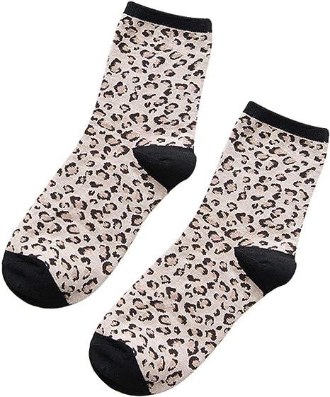 Zdmathe - Calcetines térmicos para Mujer, Transpirables, Suaves, cálidos, 100% algodón, diseño de Leopardo, Beige: Amazon.es: Deportes y aire libre