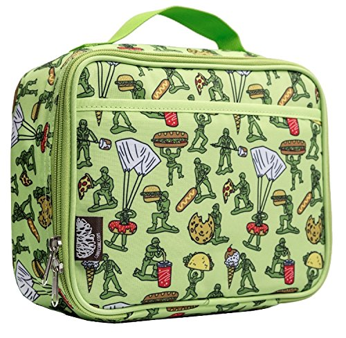 Kids Lunch Box (LoneCone Kids' Insulated Fabric Lunchbox in Fun Patterns, Food Fighters (Army Men))