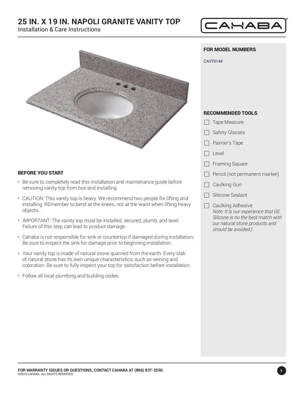 Kitchen & Bath Fixtures CAHABA CAVT0144 25 x 19 Napoli Granite ...