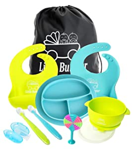 Silicone Baby Feeding Set for Self Feeding with Carrying Bag, Bibs Food Catchers, Divided Plate Place Mat, Kids Suction Bowl, Cute Spoons, Finger Toothbrush, Soft Teether (Turquoise-Lime Green)