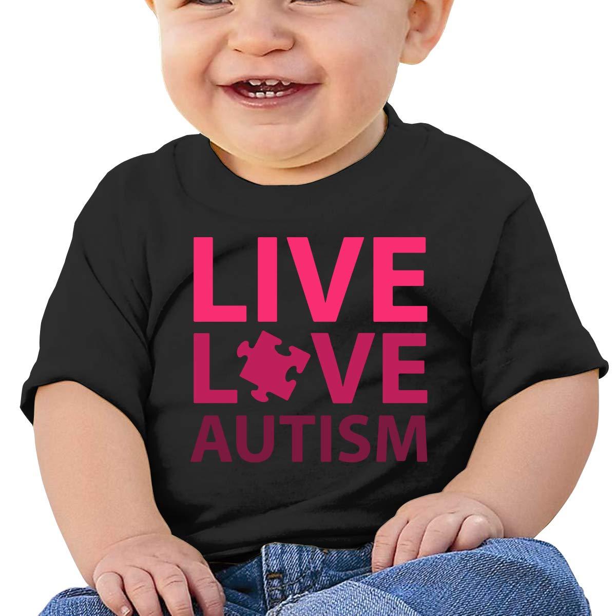 Live Love Autism Newborn Baby Short Sleeve Crewneck Tee Shirt 6-18 Month Tops