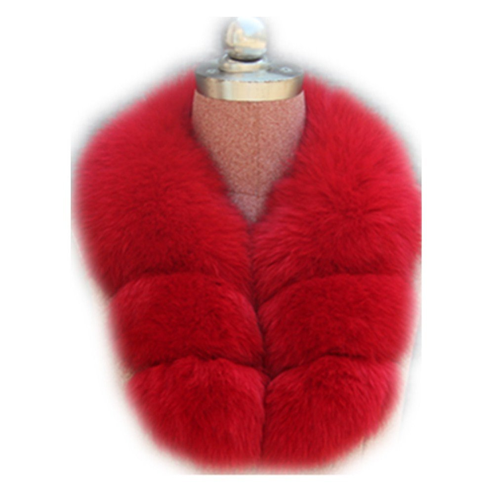 Gegefur Women's Real Fox Raccoon Fur Collar Scarf Wrap For winter (red)