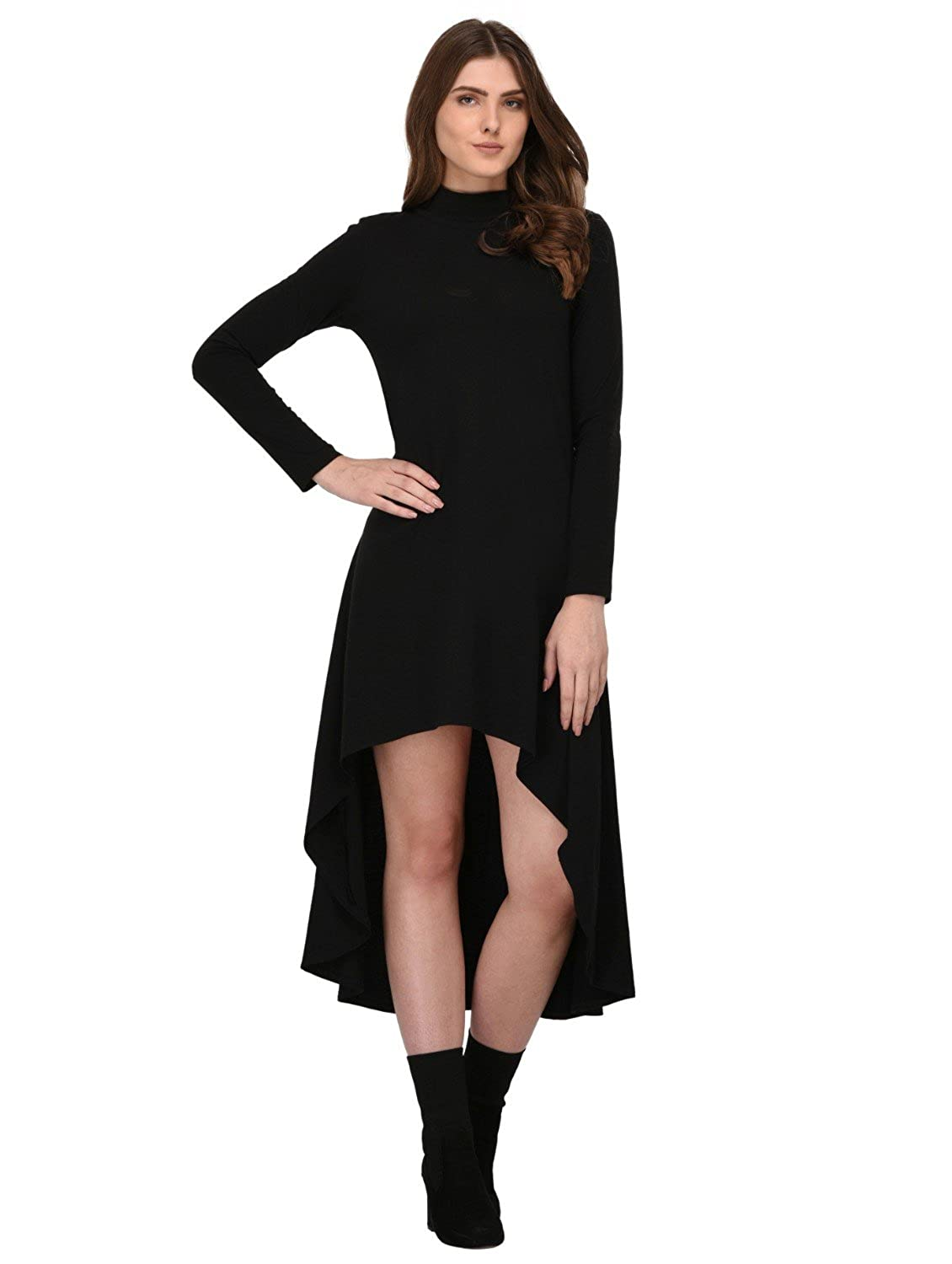 a5892e341d31 Rigo Black High Low Dress for Women: Amazon.in: Clothing & Accessories