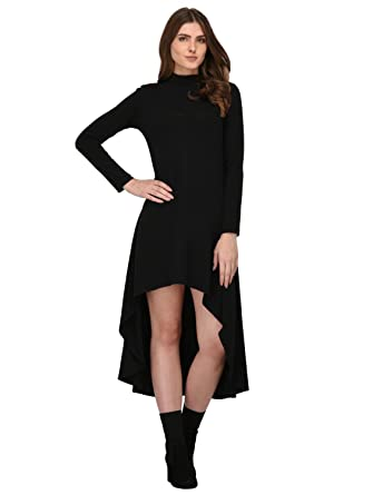 f5f047ddb47f Rigo Black High Low Dress for Women  Amazon.in  Clothing   Accessories