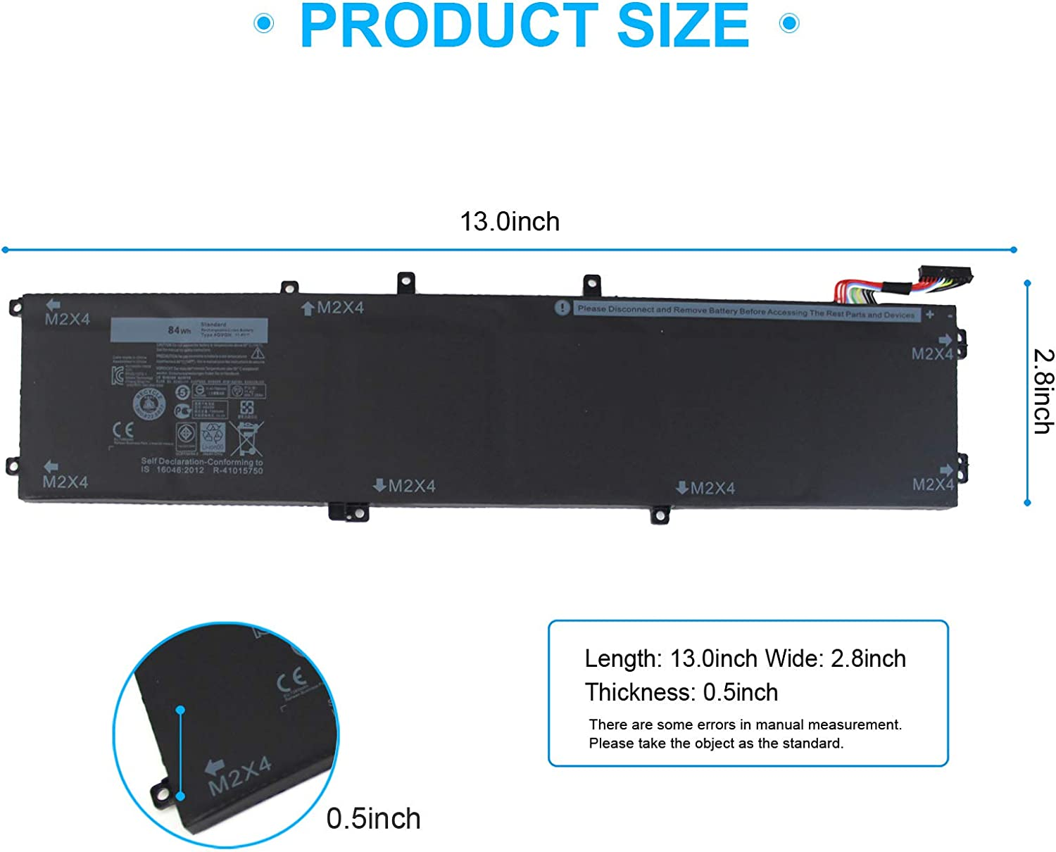 XPS 15 9550 4GVGH 1P6KD 84Wh 11.4V Battery Compatible with Dell ...