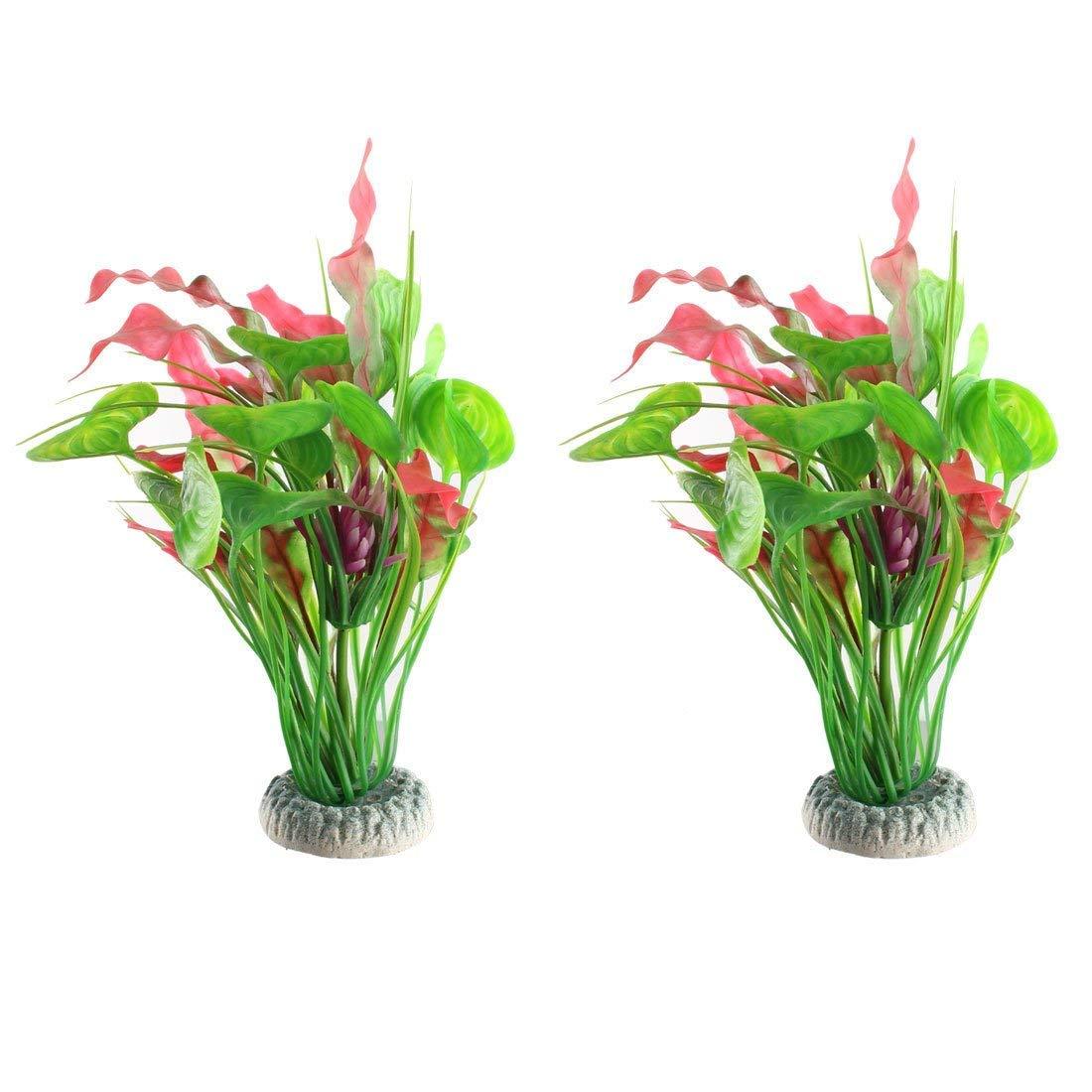 1Pc Ceramic Base Plastic Aquarium Emulational Water Grass Plant Ornament Green Purple