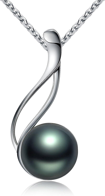Collar de perlas de mujer, hecho de plata de ley 925 con colgante de perla negra de Tahití Negro en VIKI LYNN