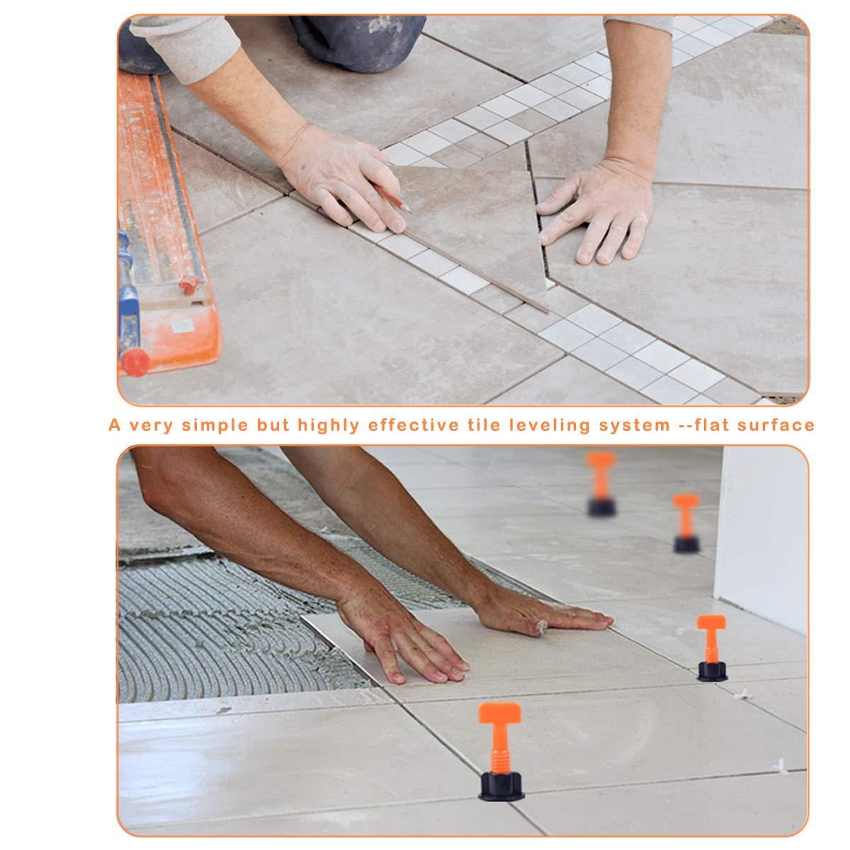 50 St/ück Fliesenabstandshalter gratis 100 St/ück Fliesenabstandhalter flache Keramikbodenwand-Konstruktionswerkzeuge mit speziellem Schraubenschl/üssel Amwoke Mehrweg-Fliesennivelliersystem