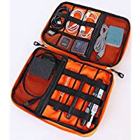 Electronics Travel Organizer - Cord Organizer Case - Cable Management Case - Universal Double Layer Travel Bag - Portable Cable Accessories Organizer - Grey/Orange With Carrying Strap