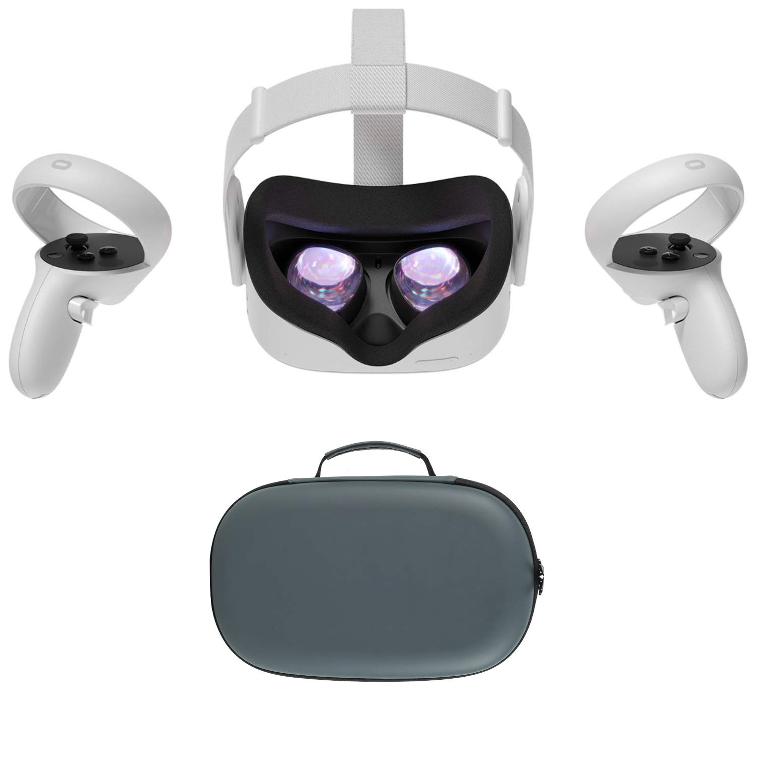 2020 Oculus Quest 2 All-In-One VR Headset, Touch Controllers, 64GB SSD, 1832x1920 up to 90 Hz Refresh Rate LCD, Glasses Compitble, 3D Audio, Mytrix Carrying Case