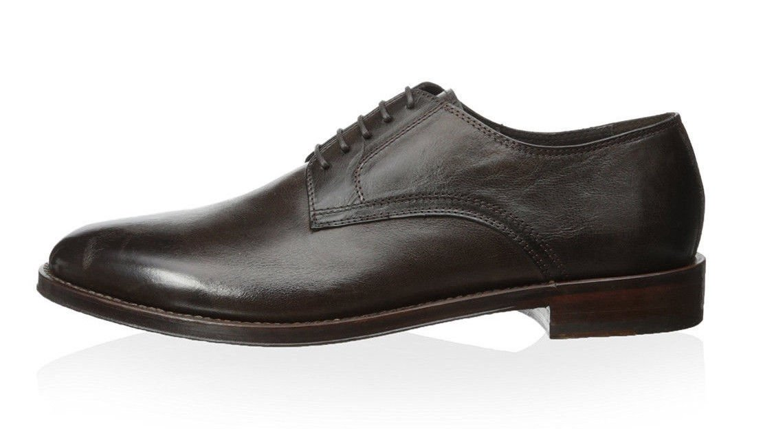 Antonio Maurizi Burnished Calfskin Oxfords In Luxurious Siena With Stacked Heel & Leather Sole (10.5 US; 43.5 EU (Label))