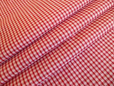 "ORANGE 1//8/"" Gingham Check Poly Cotton Fabric Material 115cm wide"
