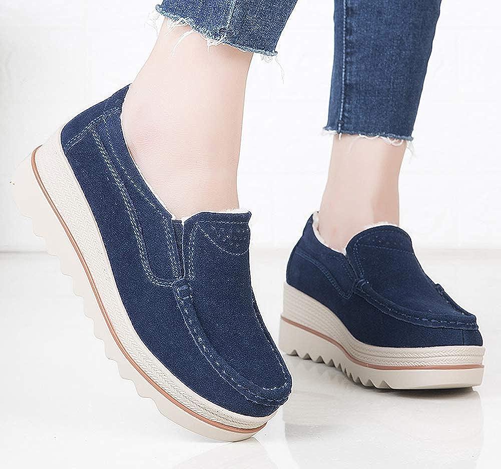 lovejin Mujer Mocasines Plataforma Casual Zapatos Invierno Caliente Loafers Zapatos de Barco Comodos Tamaño EU 35-42: Amazon.es: Zapatos y complementos