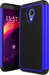 Alcatel TCL LX (A502DL) Case,Alcatel 1X Evolve Case,Alcatel Avalon V Case,TracFone Alcatel TCL LX/Alcatel IdealXTRA 5059R Case w/Hybrid Dual Layer Shock Absorbing Rugged Cover-Blue