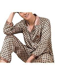 Domple Men's Silk Satin Sleepwear Loungewear Button Down Pajamas Set