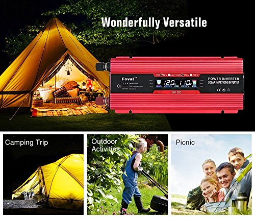 Lvyuan 1000W/2000W Power Inverter Dual AC Outlets and Dual USB Charging Ports DC to AC inverter 12V to 110V Car Converter DC 12V inverter With Digital LCD Display by Lvyuan (Image #4)