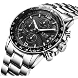 Watch,Mens Watch,Mens Black Outdoor Casual Fashion Stainless Steel Watch,Waterproof Chronograph Tachymeter Quartz Watch