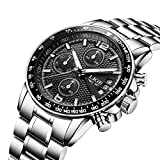 Watches,Men Watches,Mens's Stainless Steel Multifunctional Sliver Wrist Watch,Roman Fashion Waterproof Chronograph Tachymeter Quartz Watch,Classic Business Watches for men