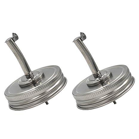 b1e93326bc25 CHBKT 2 Pack Mason Jar Oil Infusions Lid, Stainless Steel, Liquor/Oil Pour  Spout Dispenser, Regular Mouth