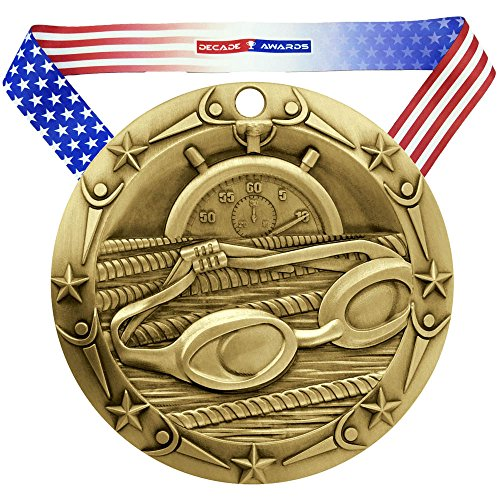(Decade Awards Swimming World Class Medal - Gold | WCM Swimmer First Place Award | Includes Stars and Stripes American Flag Neck Ribbon | 3 Inch Wide )