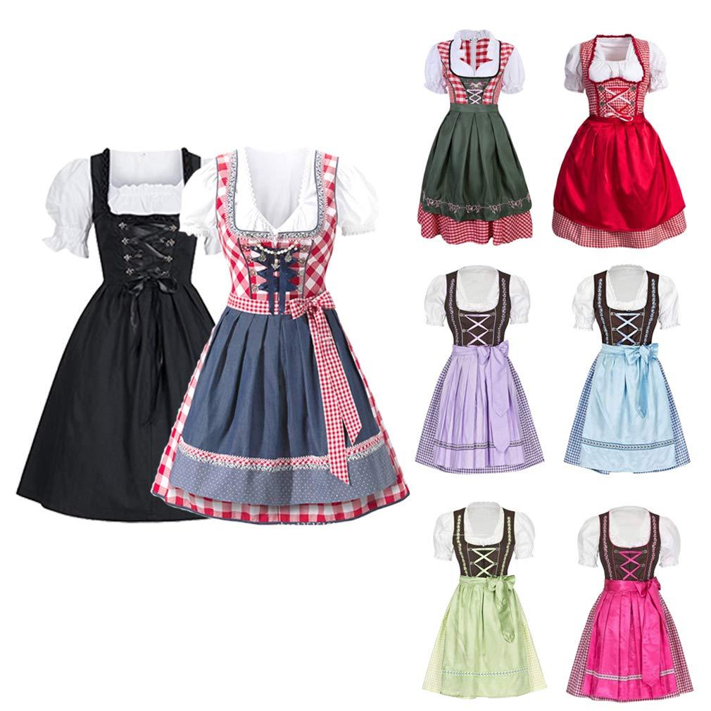 Vestido Dirndl para Mujer, Disfraz de Bávaro de Manga Corta para Oktoberfest Festival Bávara Alemana Cerveza Fiesta Mujeres Tradicional Vestidos de ...