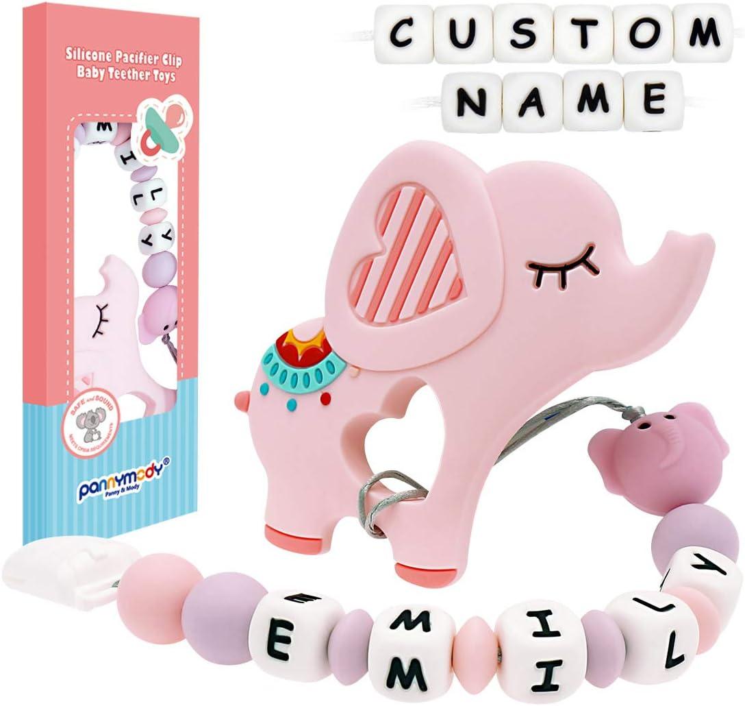 Blanco Chupete de silicona personalizable con nombre de beb/é y mordedor de elefante Panny /& Mody