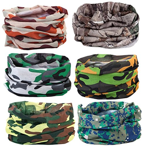 Cool Oringinal Design 6 Pack Headband Bandana Protective Multi-use Seamless Breathable Neck and Head Tube Gaiter