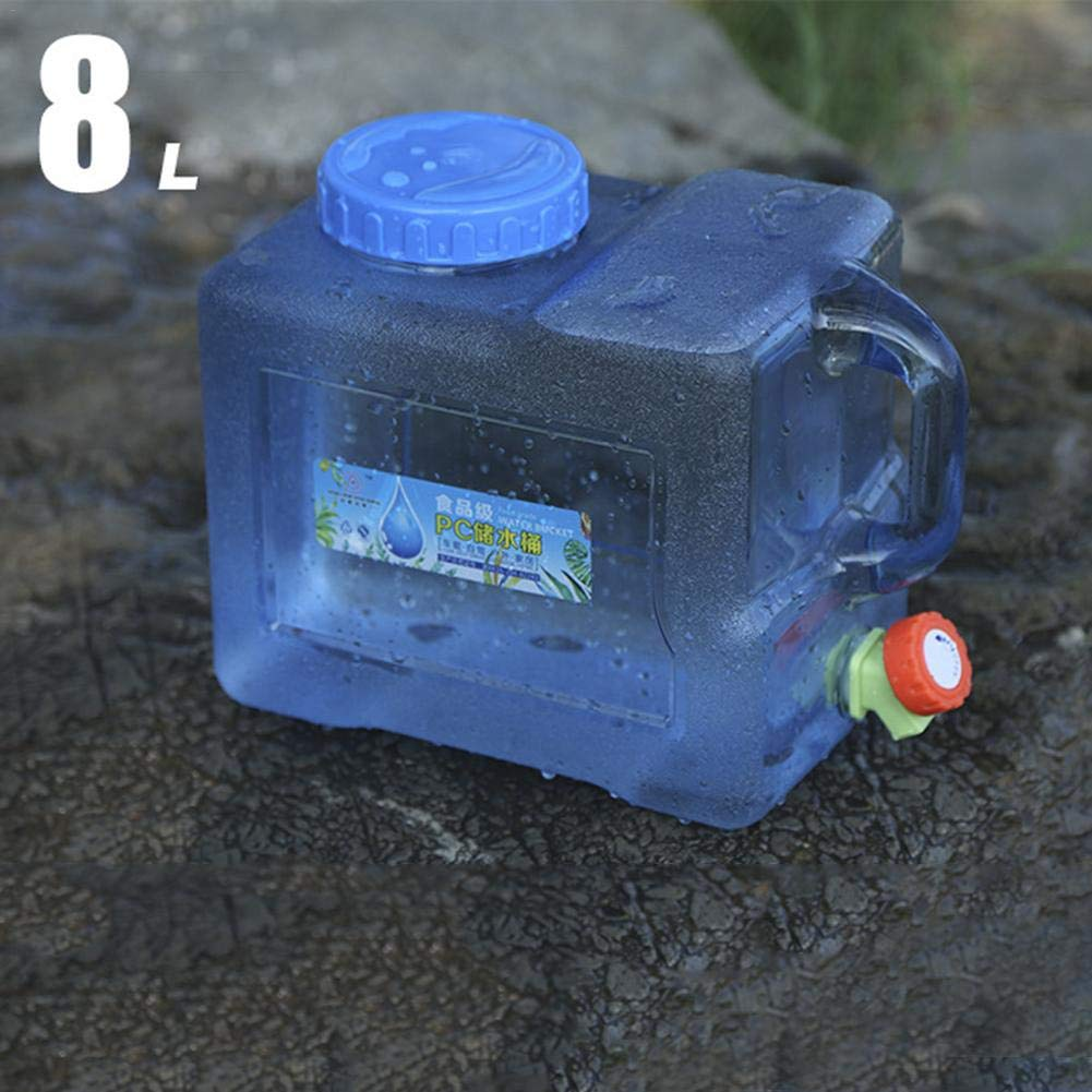 Tanque de Agua para el autom/óvil categor/ía alimenticia 5//8L port/átil Tanque de Almacenamiento Contenedor de Agua Anque de Acampar al Aire Libre Potable con la espita