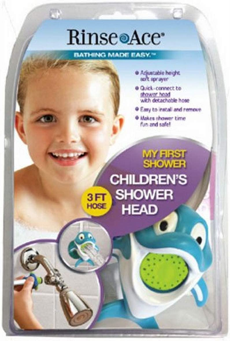 Rinse Ace 3901 My Own Shower Childrens Showerhead with 3-Foot Quick-Connect//Detachable Hose and Dolphin Character