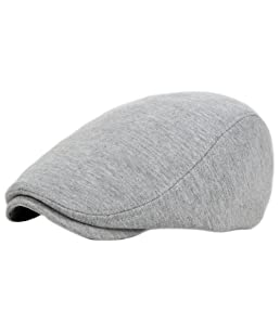 Wansan Men's Newsboy Gatsby Cabbie Hats Cotton Adjustable Driving Winter Hat Light Grey