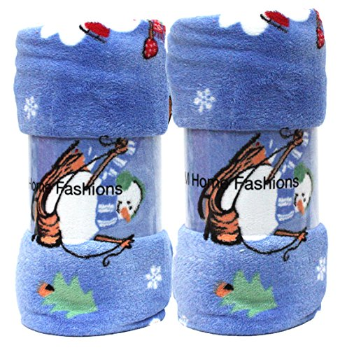 Holiday 2Pk Winter Snowmen Plush Fleece Throw, 50-Inch by 60-Inch
