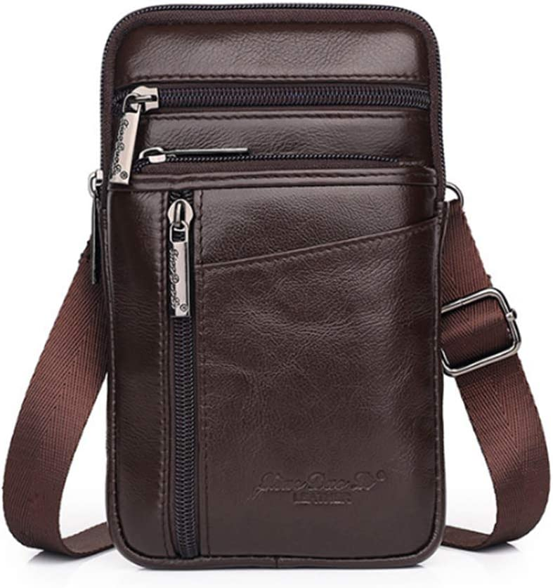 """iPhone 11 Pro X Xs 8 7 Plus 6 6S Galaxy S9 S8 S7 S6 Edge Note5 Note4 A8 A8+ Leather Case Belt Holster Pouch Holder for Cell Phone Under 6.0"""" inch Vertical Style2-Coffee S Size"""
