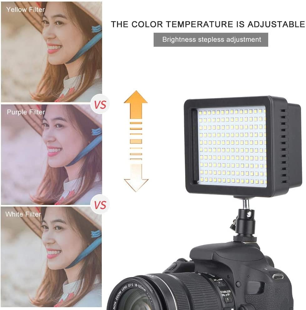 Mugast LED Video Light,Portable 1150LM 5600K Dimmable Digital Camera Fill Lamp with 1//4 Screw Hole Cold Shoes,Ball Head,for DSLR Cameras//Camcorders//Tripods//Light Bracket
