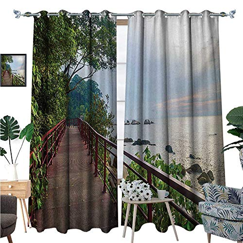 - Beach Room Darkening Wide Curtains Walkway and Jogging Track by Sea in Cinque Terre Italian Mediterranean Vacation Decor Curtains by W84 x L96 Green Chocolate