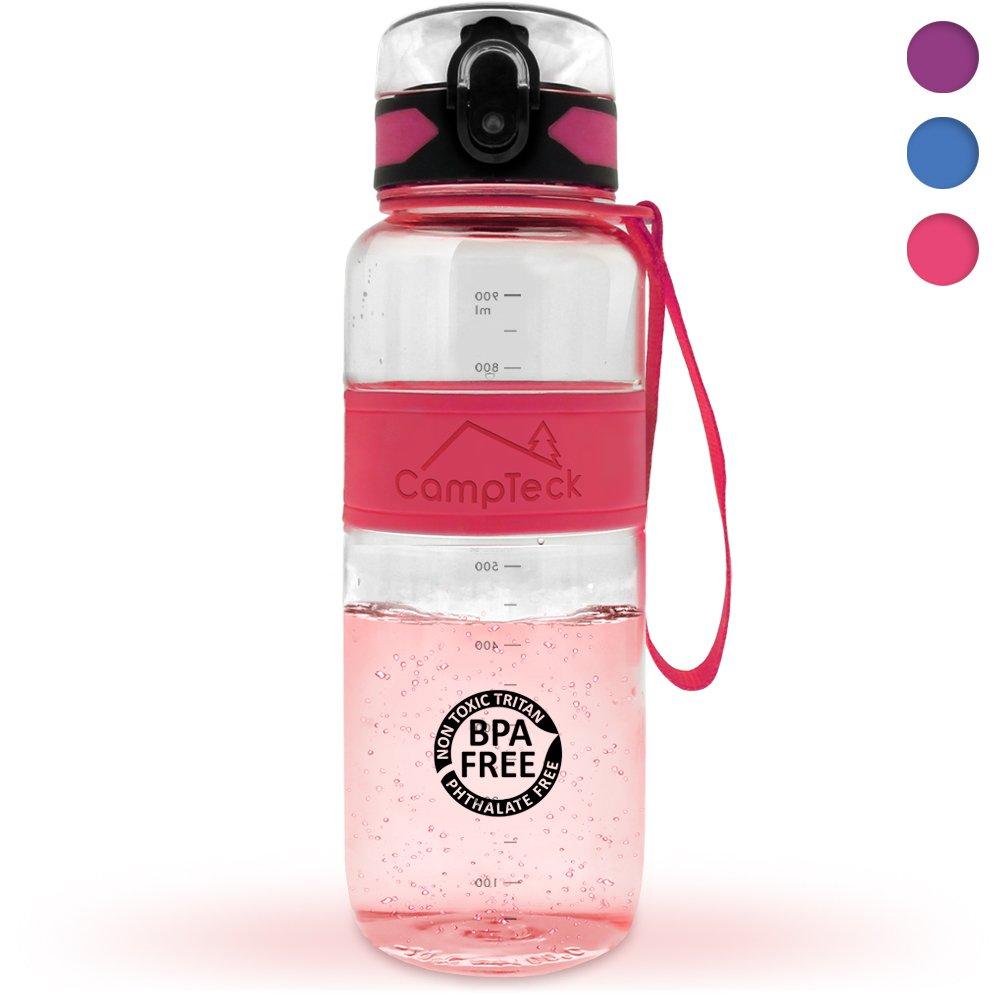 campteck Leak Proof Bpaフリースポーツ飲料水ボトルCarryストラップ( 450ml、600 ml、1000 ml ) B071LHV21B ピンク 450ml